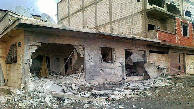Houses were heavily damaged by Syrian government shelling at Baba Amr neighborhood in Homs province, Syria. The picture was submitted by citizen journalists in Syria.