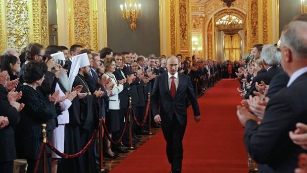 Vladimir Putin during his inauguration ceremony as Russia's new president in St. Andrew's Hall of the Kremlin in Moscow on Monday.