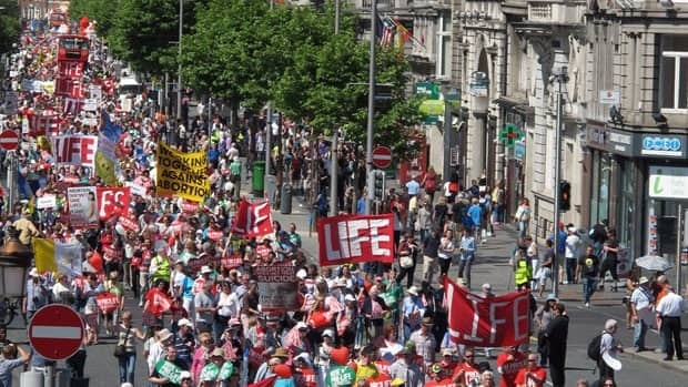 Thousands of anti-abortion protesters marched through Dublin against Ireland's abortion bill.