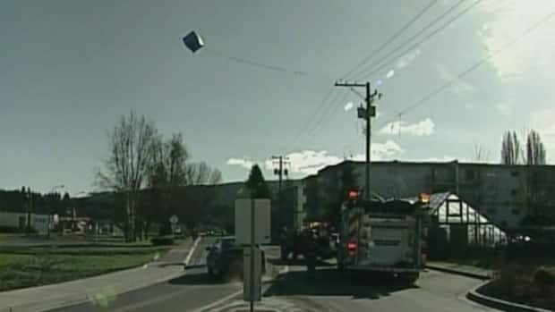A car dealership's balloon got a lot of notice on Sunday, after getting caught in power lines in Duncan.