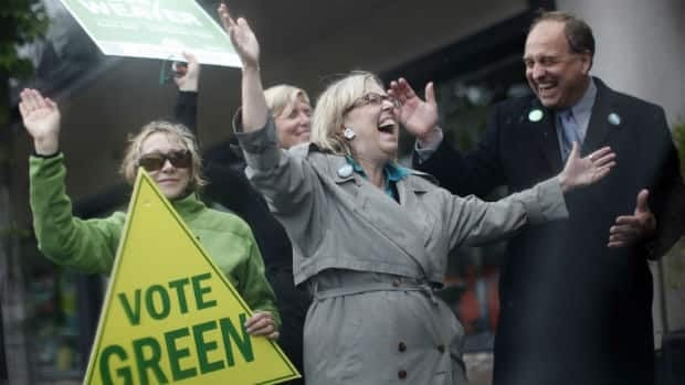 Federal Green Party Leader Elizabeth May campaigns with provincial candidate Andrew Weaver in the Victoria suburb of Oak Bay on the weekend. May's federal win two years ago here has raised hopes for the B.C. party.