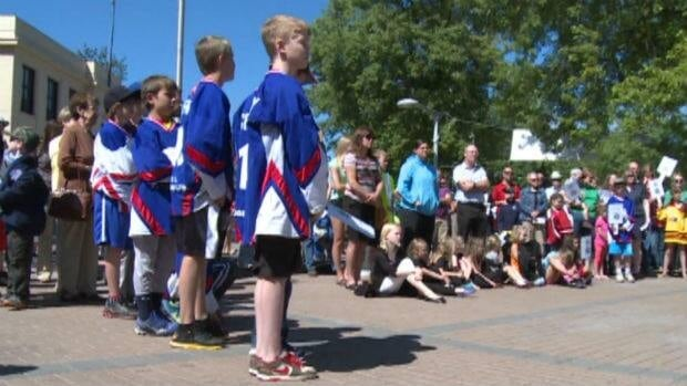 Athletes and parents gathered outside Corner Brook City Hall on Tuesday to protest proposed rate increases at the Pepsi Centre.