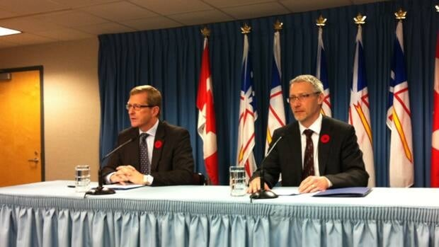 Natural Resources Minister Jerome Kennedy and Nalcor Energy's Gilbert Bennett.
