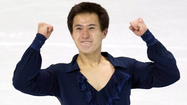 Canada's Patrick Chan began his charge for his third consecutive world title with a record score in the short program Wednesday in London, Ont.