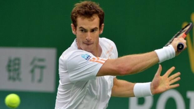 Andy Murray hits a backhand return in a 4-6, 6-2, 6-3 victory over Radek Stepanek on Friday.