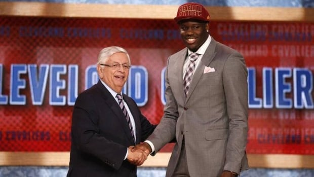Canadian Anthony Bennett, right, shakes hands with NBA Commissioner David Stern, left, after being selected by the Cleveland Cavaliers as the first overall pick in the 2013 NBA Draft Thursday in Brooklyn, N.Y.