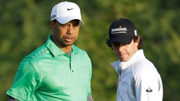 Tiger Woods, left, and Rory McIlroy, right, seen here at the Abu Dhabi HSBC Golf Championship earlier this year, could be going head-to-head for the first time in October should they not be paired in Ryder Cup singles play in September.