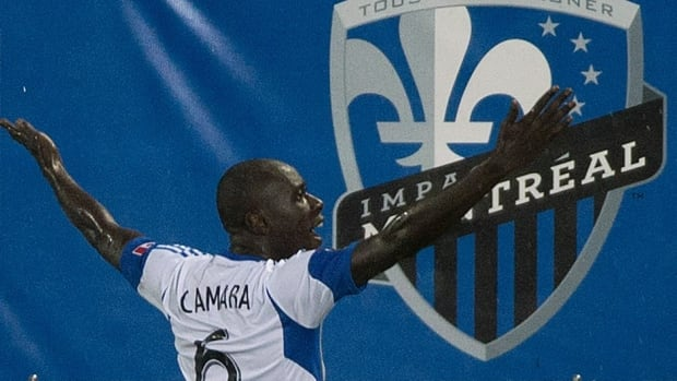 Montreal Impact's Hassoun Camara celebrates after scoring against the San Jose Earthquakes during first half CONCACAF Champions League action Wednesday.