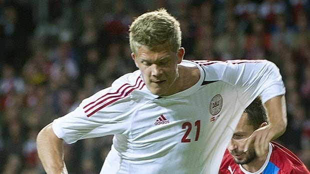 Denmark's Andreas Cornelius, seen here in a match against the Czech Republic on September 8, 2012, scored three against Canada.