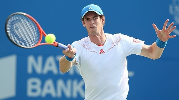 Andy Murray hits a return during his match against Flavio Cipolla at the Rogers Cup Wednesday. Murray will face Canadian Milos Raonic in a third-round match Thursday in Toronto.