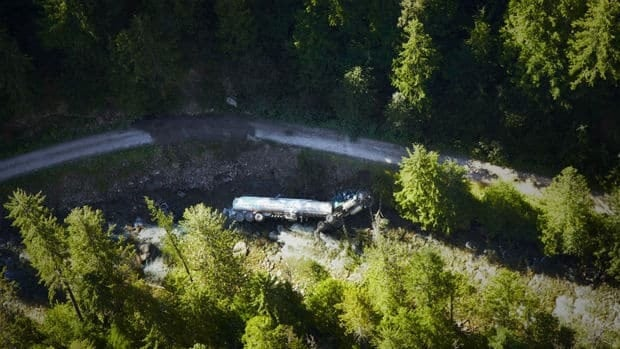 A tanker carrying 35,000 litres of jet fuel crashed into Lemon Creek on July 27, 2013.