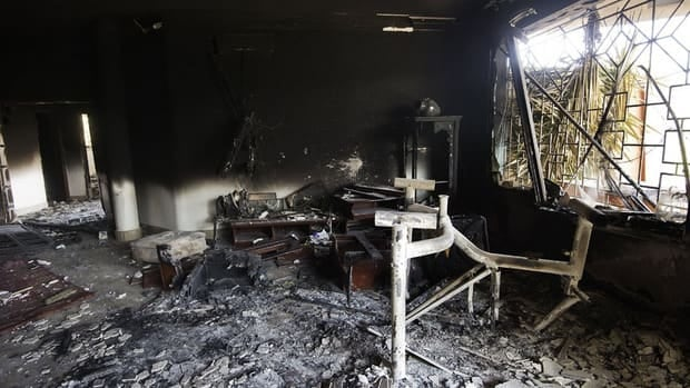 Debris lies scattered inside the U.S. consulate in the Libyan city of Benghazi in September. On Monday, authorities released a 26-year-old suspect in the attack that killed four Americans.