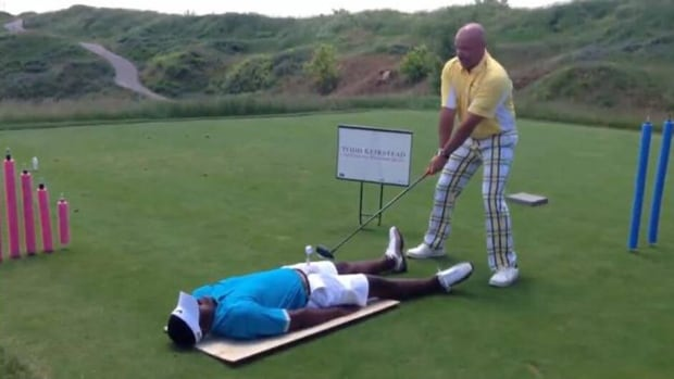 Sure, Detroit Red Wings star Pavel Datsyuk may have been caught on camera playing goalie during a shinny hockey game this summer, but what about Montreal Canadiens defenceman P.K. Subban? The Norris Trophy-winning defenceman spent some time pretending to be a golf tee.