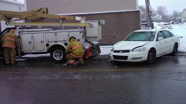 Two people were taken to hospital following the crash, no word on the extent of their injuries.