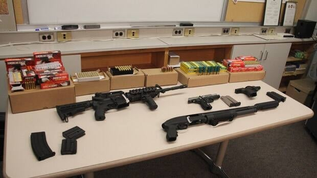 Toronto police say an investigation into a reported west-end home invasion led to the eventual seizure of these weapons.