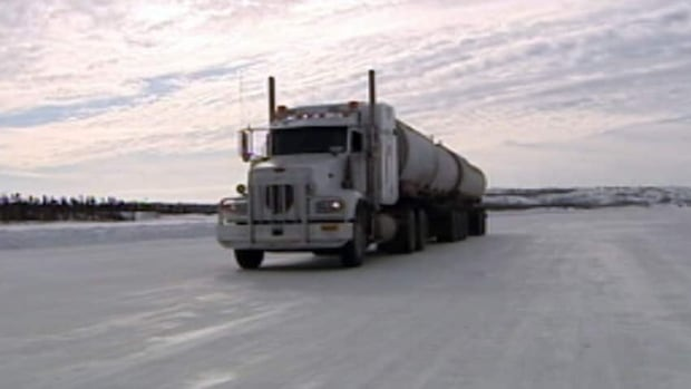 Many trucks are expected to use the ice road north of Yellowknife this winter.