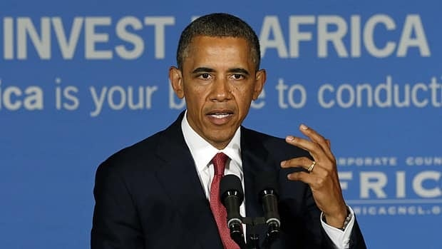 U.S. President Barack Obama delivers remarks at a business leaders' forum in Dar es Salaam, Tanzania, on Monday.
