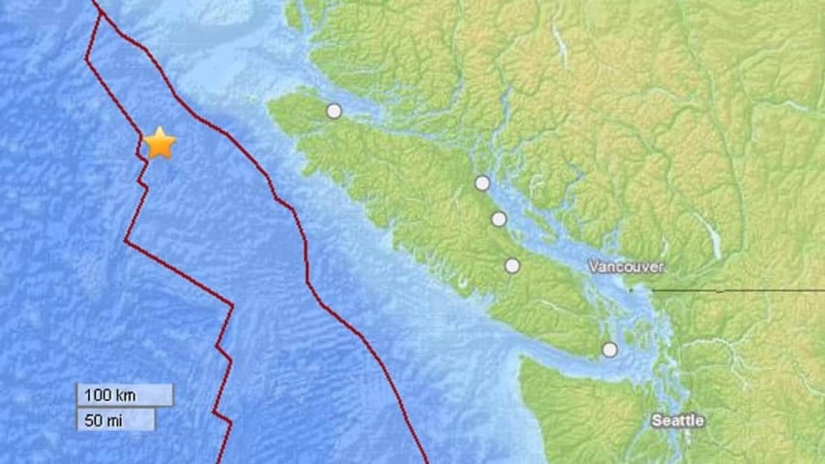 Magnitude Earthquake Recorded Off BCs West Coast British - Us west coast vancouver island map