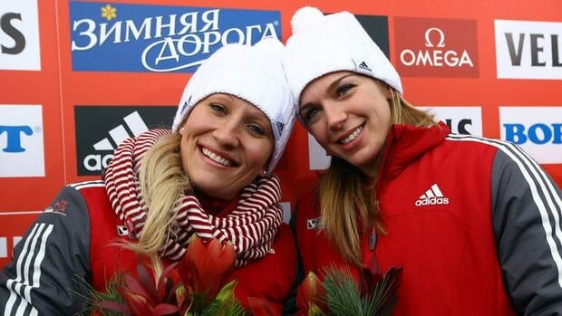 Kaillie Humphries and Chelsea Valois of Canada during the FIBT Bobsled & Skeleton World Cup on December 8, 2012 in Winterberg, Germany.