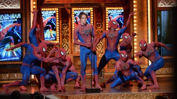 Reeve Carney, centre, and the cast of Spider-Man: Turn Off the Dark speak onstage at The 67th Annual Tony Awards at Radio City Music Hall on June 9, 2013 in New York City.