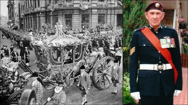 Len Delaney, right, wears the same dress blues he donned as a young private with the Royal Canadian Regiment when he marched with other members of the Canadian Forces in the Queen's coronation procession in London on June 2, 1953.