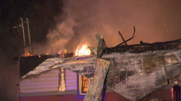 A fire burned through a building around 3 a.m. in Chateauguay.