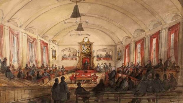 The House of Assembly of Montreal, circa 1848, is shown in this drawing by James Duncan. Archeologists digging up a Montreal parking lot that once was home to a pre-Confederation parliament have begun unearthing bits and pieces of its past.