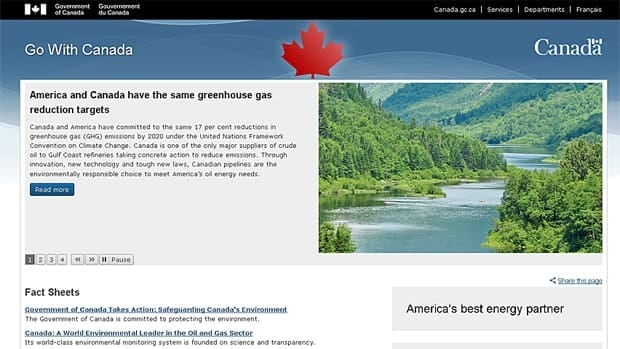 "The Harper government's new ""Go With Canada"" website is part of a $16.5 million advertising push. The prime minister heads to New York Thursday to promote Canada's oil and gas sector in the U.S."