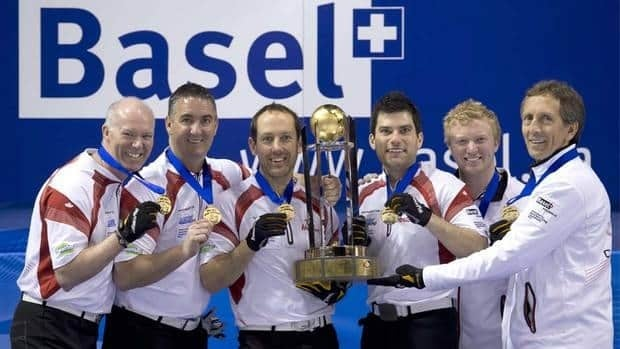 Canada's skip Glenn Howard, third Wayne Middaugh, second Brent Laing, lead Craig Savill, alternate Scott Howard and coach Scott Taylor celebrate the men's world curling championship on Sunday in Switzerland.