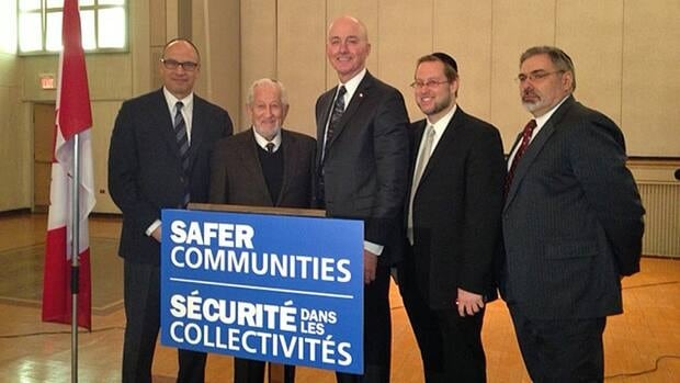The federal government is providing funding to help improve security at Hamilton's Adas Israel Congregation synagogue. At the announcement were (from left): Larry Szpirglas (president, Hamilton Jewish Federation), Rabbi Mordechai Green (Rabbi Emeritus, Adas Israel Congregation of Hamilton), David Sweet, MP (Ancaster-Dundas-Flamborough-Westdale), Rabbi Daniel Green (Rabbi, Adas Israel), and Rabbi Eliot Feldman (Hamilton Hebrew Academy Head of School).