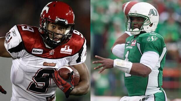 Stampeders running back Jon Cornish and Riders quarterback Darian Durant lead their team's offences into battle on Sunday in the West semifinal.