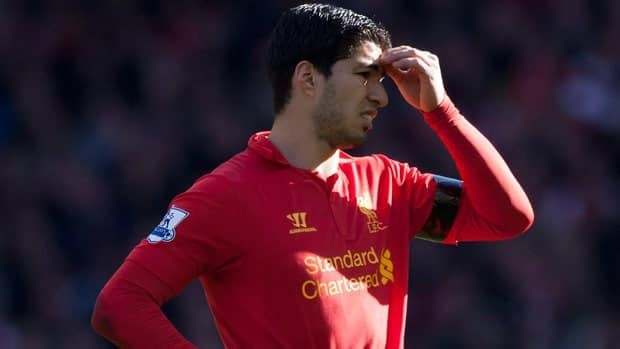 Liverpool's Luis Suarez is seen during his team's 2-2 draw against Chelsea in their English Premier League soccer match at Anfield Stadium on Sunday.