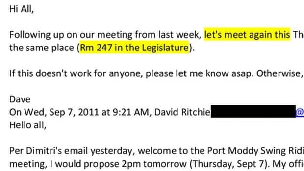 The NDP released a set of apparent emails between Liberal government staffers allegedly arranging for campaign-related meetings on government time in October 2011.
