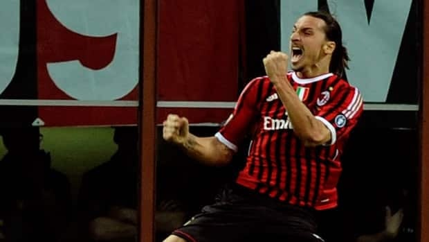 Zlatan Ibrahimovic of AC Milan celebrates after scoring the second goal during the Serie A match against AS Roma at Stadio Giuseppe Meazza on March 24, 2012 in Milan, Italy.
