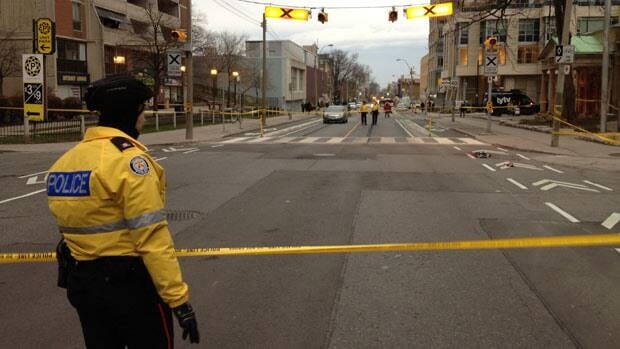 Police have closed down a section of Sherbourne Street as they investigate the stabbing of two people Thursday afternoon.