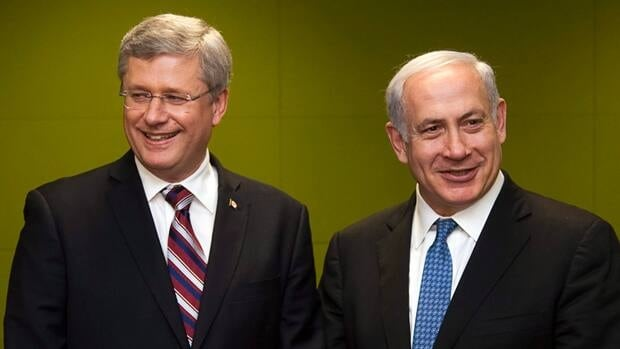 Israeli Prime Minister Benjamin Netanyahu, right, has publicly lauded Prime Minister Stephen Harper for his staunch support of the state of Israel.