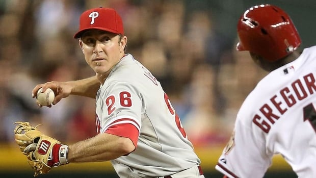 Phillies second baseman Chase Utley, left, is on the disabled list with an oblique strain. He is batting .272 with seven homers and 25 runs batted in this season.