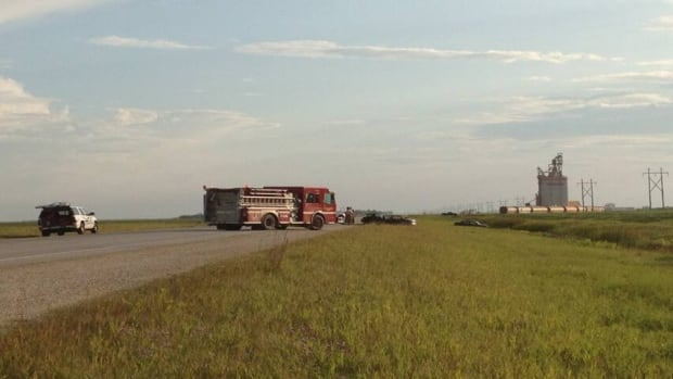 Two people are dead and three others are in hospital following this head on collision just south of Brunkild, Man.