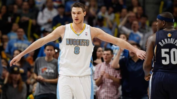 Denver Nuggets forward Danilo Gallinari has been rehabbing in the team's weight room since an operation in late April to fix the meniscus in a knee he hurt April 4 against Dallas.