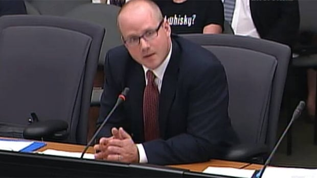 Former Dalton McGuinty chief of staff Chris Morley testifies before a justice committee at Queen's Park on allegations the McGuinty Liberals deleted emails about two power plant cancellations as part of a cost coverup.