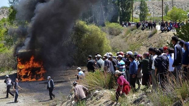 Protesters blocked a road leading to the Canadian-owned Centerra mine and cut power supplies.