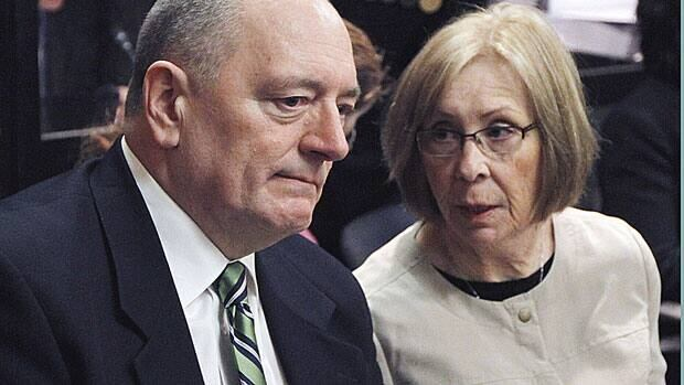 Shaun Fynes and his wife Sheila, parents of Cpl. Stuart Langridge, a soldier who killed himself in 2008, listen to testimony at a Public Interest Hearing at the Miliitary Police Commssion in March. Shaun Fynes was testifying at the hearing Wedneday.