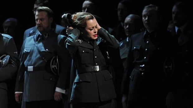 Elena Zhidkova appears as Venus, interpreted as an SS officer, in a scene from the controversial staging of Richard Wagner's opera Tannhauser in Duesseldorf.