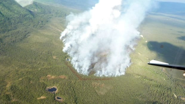 It's thought that lightning started the 330 hectare blaze Monday afternoon on the east side of Ethel Lake, about 20 kilometres south of Mayo, Yukon.