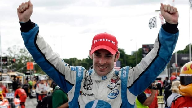 Simon Pagenaud celebrates his victory in the IndyCar Detroit Grand Prix on Belle Isle in Detroit on Sunday.