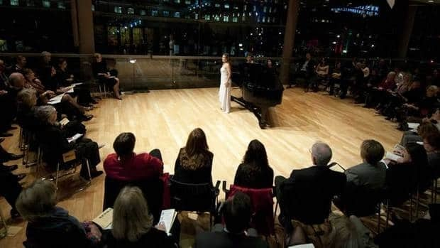Soprano Sasha Djihanian, the first prize winner of the 2011 Ensemble Studio Competition, is shown during her performance in the Richard Bradshaw Amphitheatre at the Four Seasons Centre for the Performing Arts in Toronto.