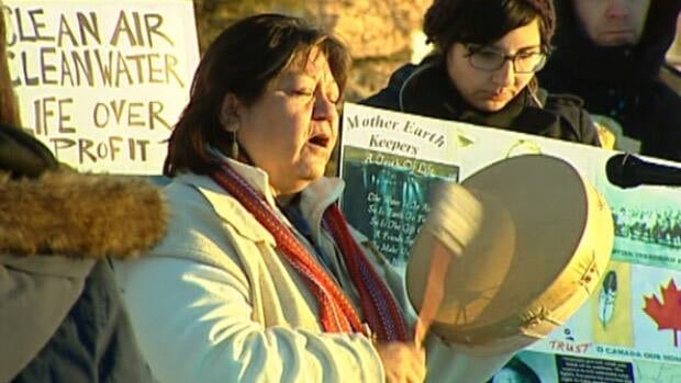 Members of area First Nations protested outside the start of the Northern Gateway pipeline hearings in Edmonton on Tuesday.