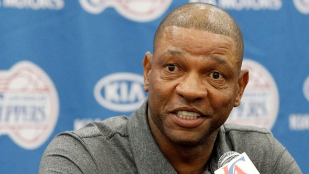 Former Boston Celtics head coach Doc Rivers talks at a press conference in Los Angeles on Wednesday after being introduced as the new Clippers coach.