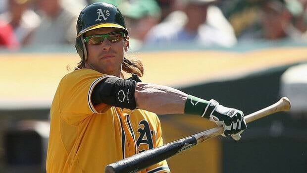 The Athletics struck out 23 times in the first two games of the AL Division Series against Detroit. Outfielder Josh Reddick, shown here, has struck out six times but also homered in Sunday's 5-4 loss.