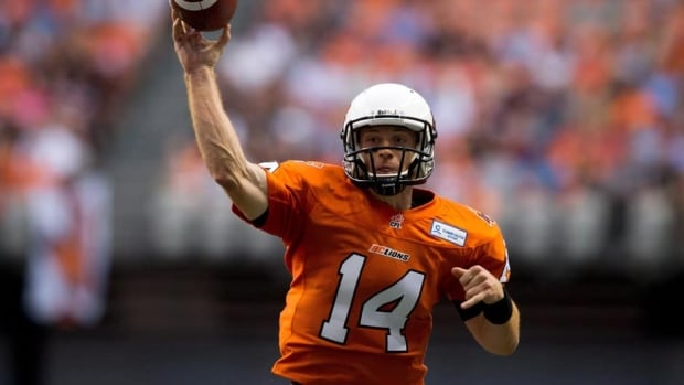 B.C. Lions quarterback Travis Lulay during a game against the Toronto Argonauts in Vancouver, B.C., on Thursday July 4, 2013.